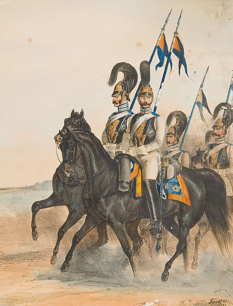 Maneuvers in Tsarskoye Selo. Russia.Uniforms of the Imperial Russian Army. Drawn from life. Munich.