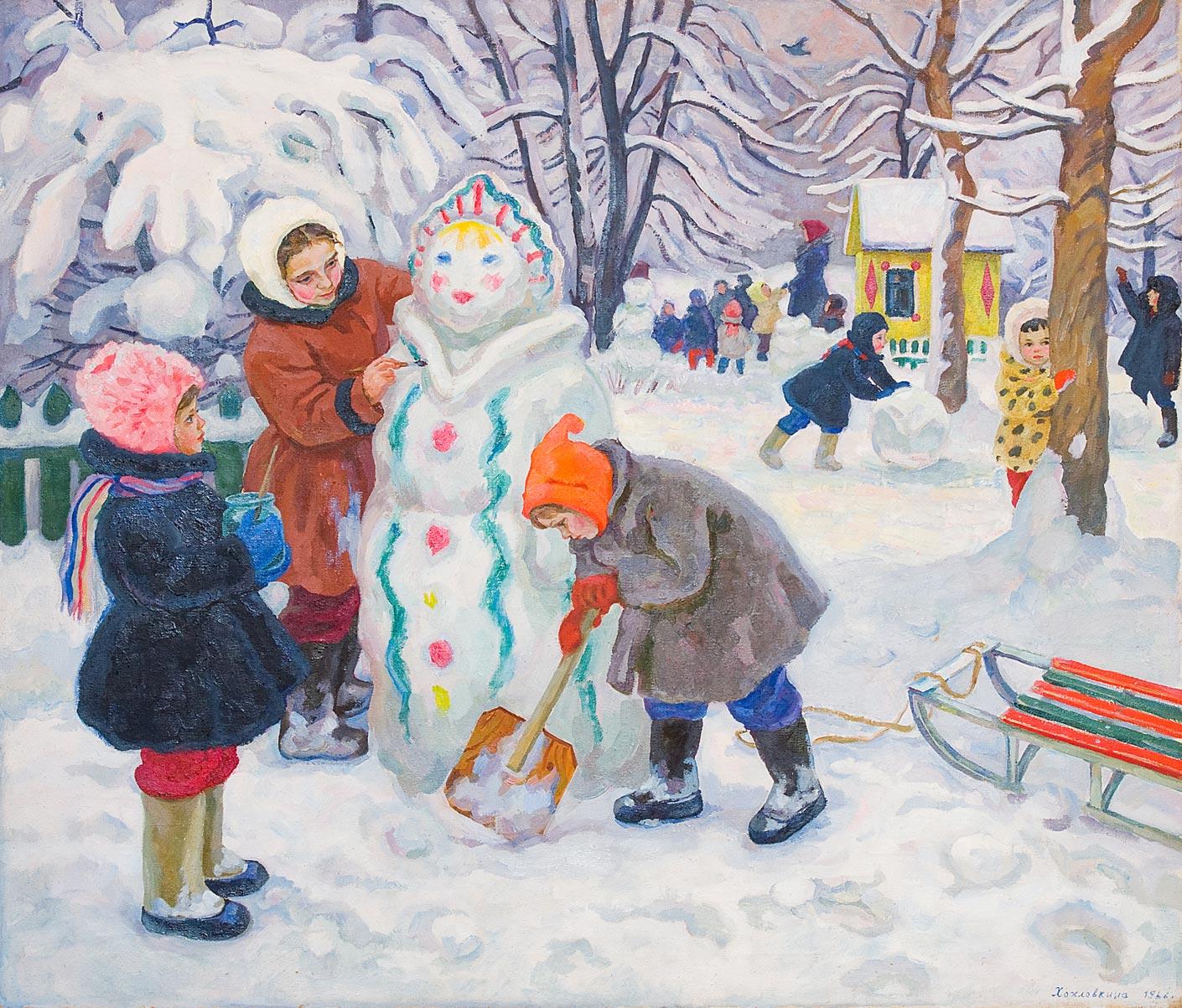 Рисованные картинки с детьми зимой, летием сына