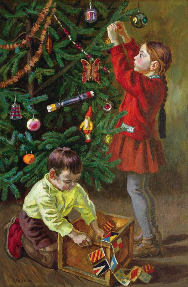 Дети наряжают елку открытка, картинках днем рождения