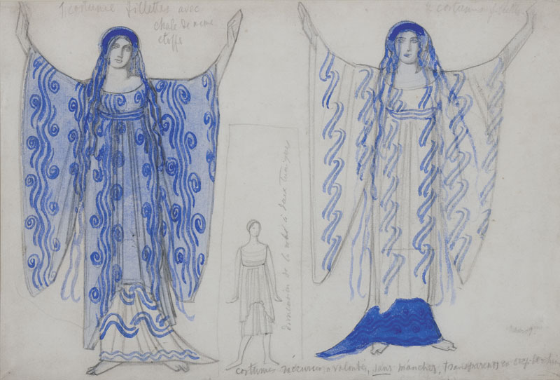 Costume design for the drama of Zh. Rasin