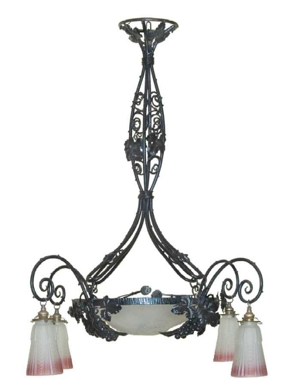 Luster with floral d?cor for 4 dome lamps.
